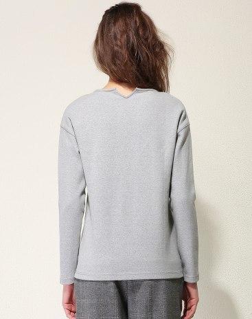Gray Plain Round Neck Long Sleeve Standard Women's T-Shirt