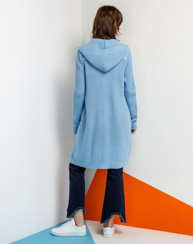 Blue Single Breasted Long Sleeve Women's Knitwear
