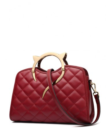 Red Plain Cowhide Leather Medium Women's Tote