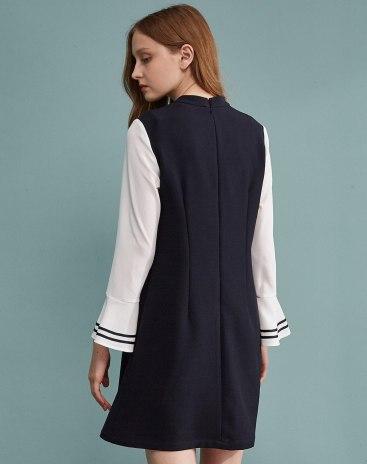 Black Strappy Neck Long Sleeve High Waist Standard Women's Dress