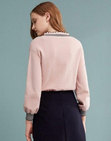 Pink V Neck Long Sleeve Standard Women's Sweater