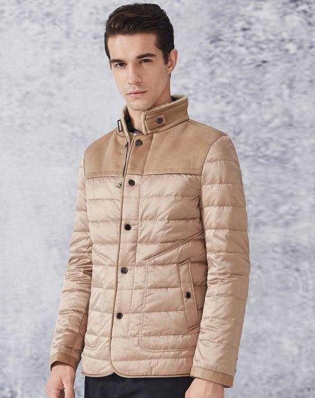 Yellow Long Sleeve Standard Men's Down Coat