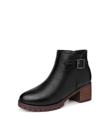 Black Round Head High Heel Ankle Boot Women's Boots