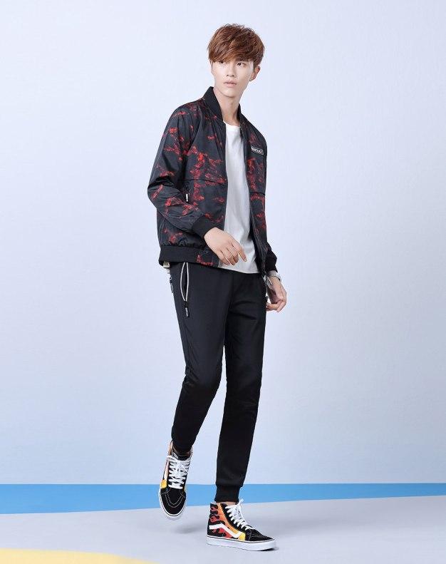 Stand Collar Long Sleeve Men's Jacket
