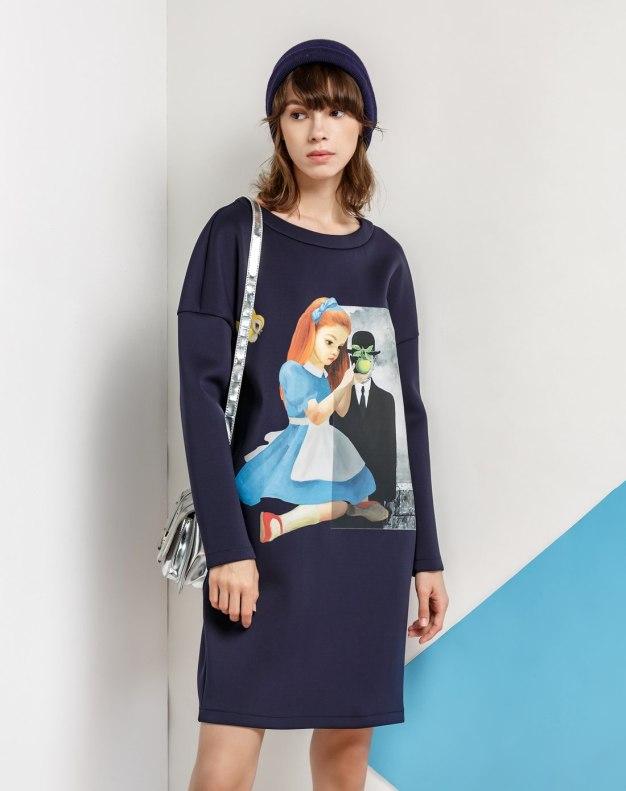Blue Round Neck Low Waist 3/4 Length Women's Dress