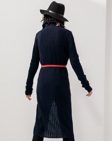 Indigo Plain V Neck Long Sleeve Women's Knitwear