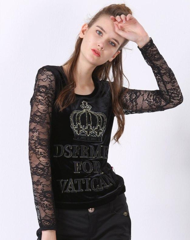 블랙 알파벳 긴소매 표준 여성 티셔츠