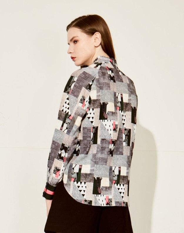 Others1 기하학 패턴 긴소매 표준 여성 블라우스