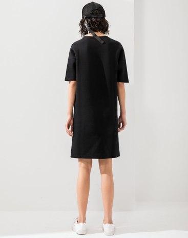 Black Round Neck Short Sleeve 3/4 Length Women's Dress