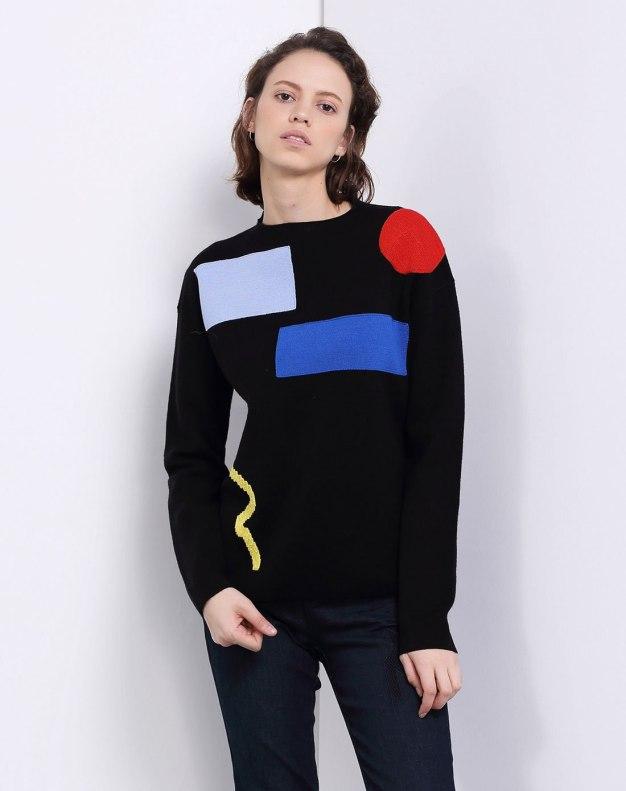 Black Round Neck Long Sleeve Women's Knitwear