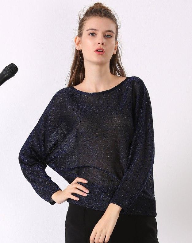 청색 단색의 긴소매 표준 여성 티셔츠