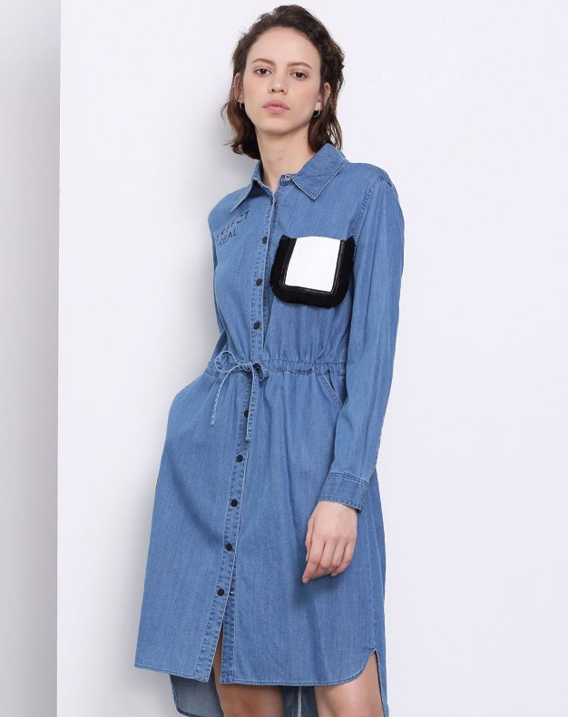 Blue High Waist 3/4 Length Women's Dress