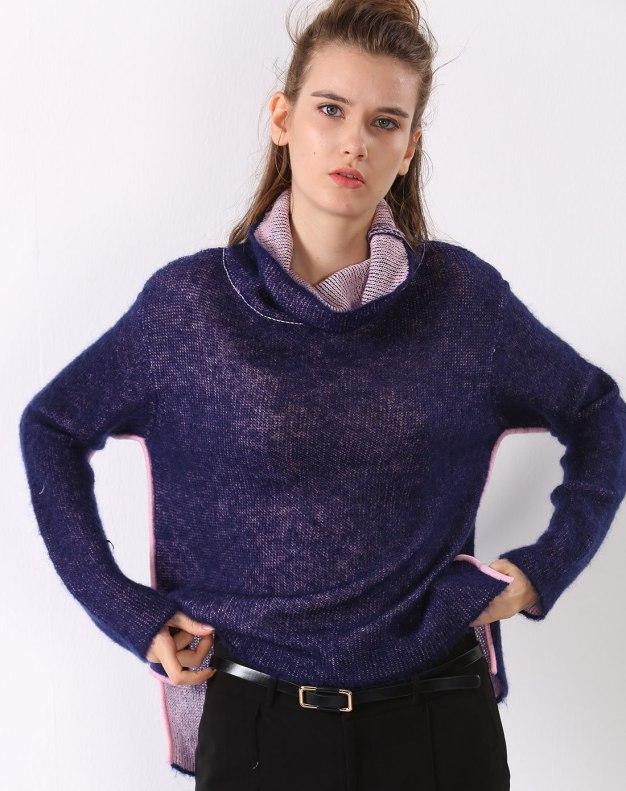 퍼플 긴소매 표준 여성 스웨터