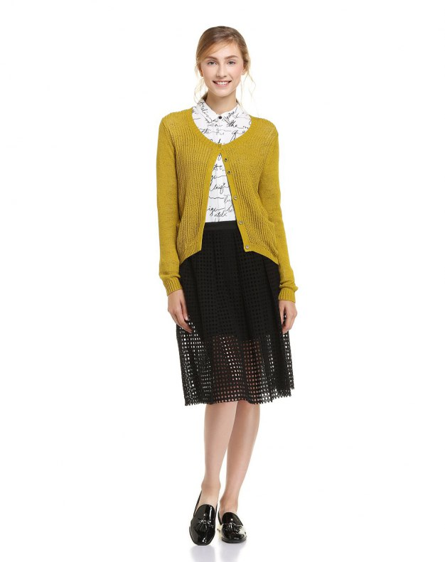 Yellow Round Neck Long Sleeve Women's Knitwear