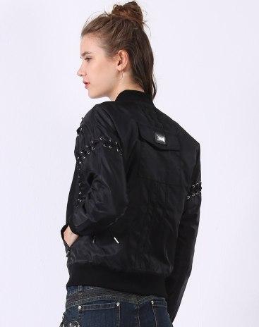 Black Plain Baseball Collar Long Sleeve Fitted Women's Outerwear