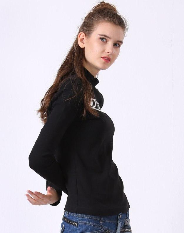 블랙 알파벳 긴소매 슬림핏 여성 티셔츠