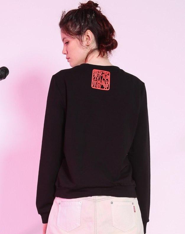 블랙 기타 긴소매 슬림핏 여성 티셔츠