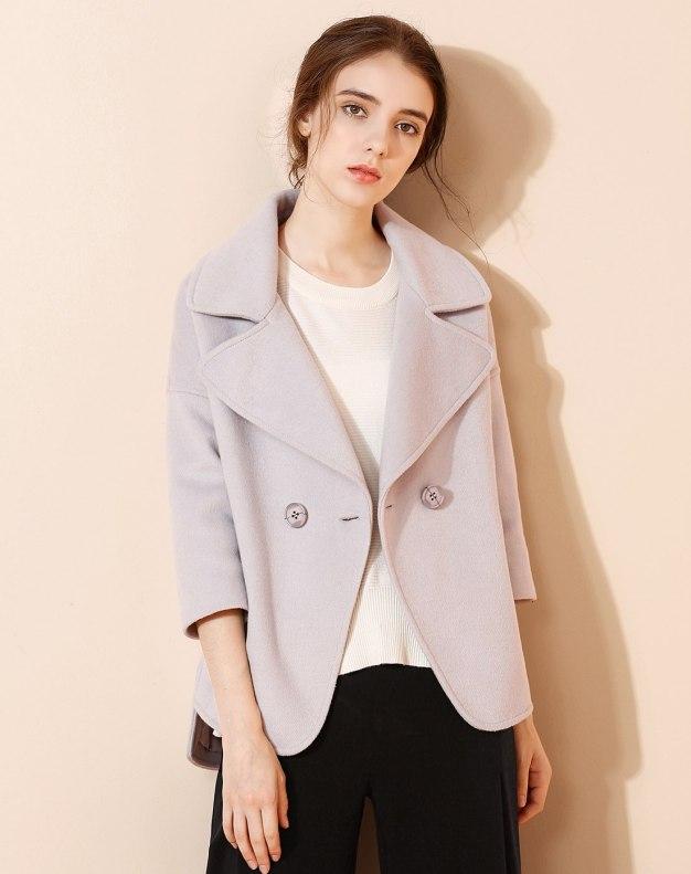 Plain Lapel One Botton Long Sleeve Fitted Women's Coat