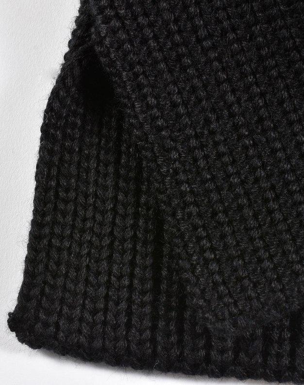 Black Plain Lamb Wool Scarf