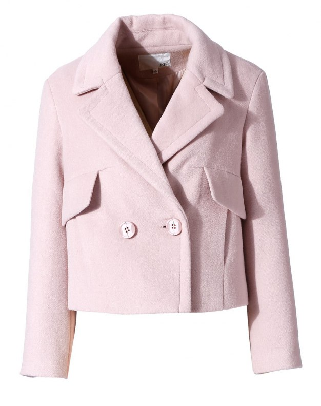 Pink Plain Lapel One Botton Long Sleeve Fitted Women's Coat