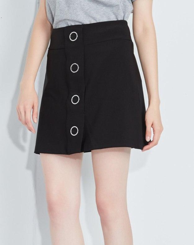 블랙 짧은 치마 여성 A라인 드레스 스커트