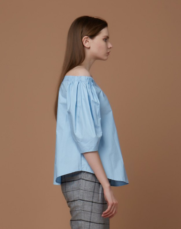 블루 단색의 반소매 표준 여성 블라우스