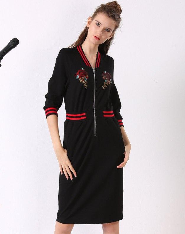 블랙 긴소매 랩스커트 여성 드레스
