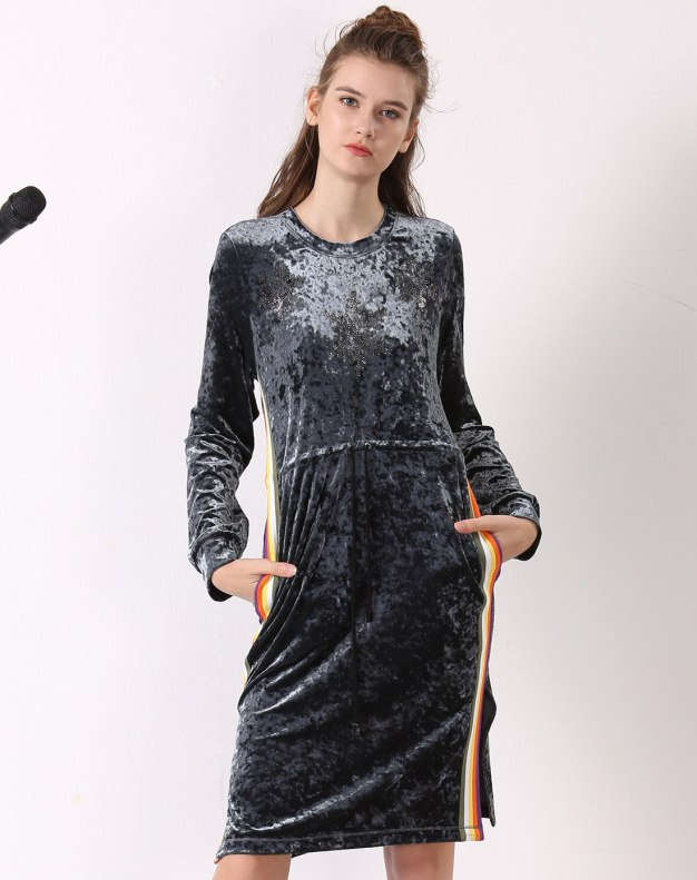 블루 긴소매 기타 여성 드레스