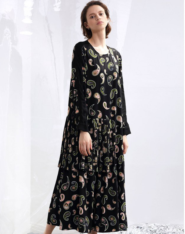 Colourful Round Neck Sleeve Layered dress Women's Dress