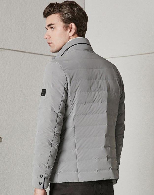 Gray Stand Collar Long Sleeve Standard Men's Down Coat