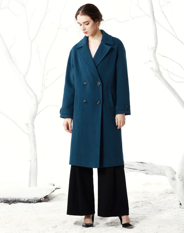 Plain Lapel Double Breasted Long Sleeve Fitted Women's Coat