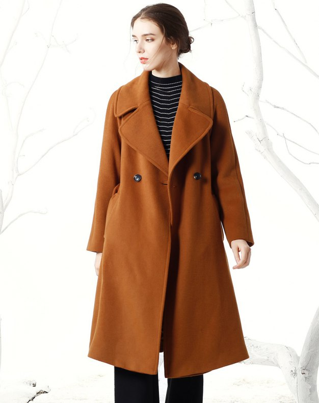 Plain Lapel One Botton Long Sleeve Fitted Women's Coat