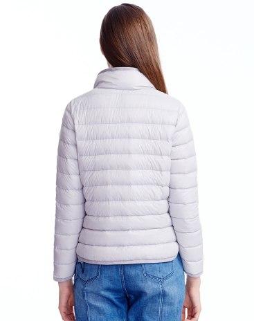 Gray Lapel Single Breasted Standard Women's Down Jacket