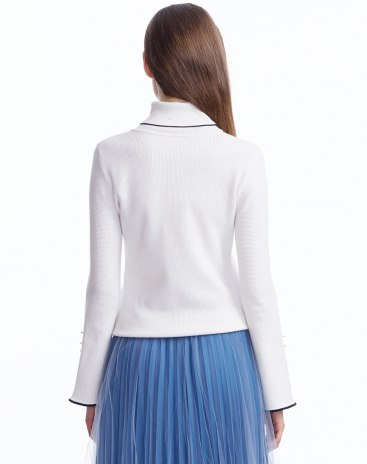 White Half High Collar Long Sleeve Fitted Women's Knitwear