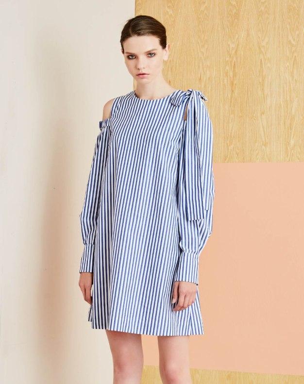 블루 긴소매 여성 드레스