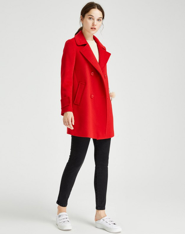 Red Plain Lapel Double Breasted Long Sleeve Women's Outerwear