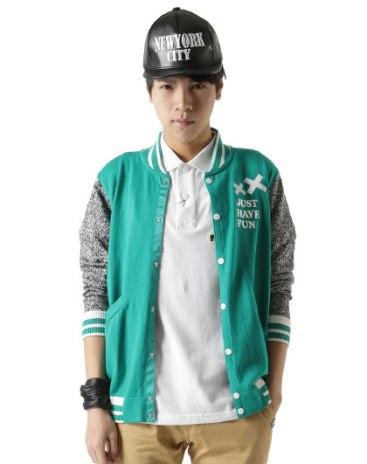 Green Stand Collar Long Sleeve Standard Men's Sweater