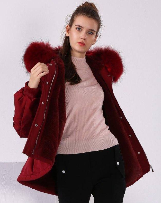 레드 단색의 긴소매 표준 여성 스웨터