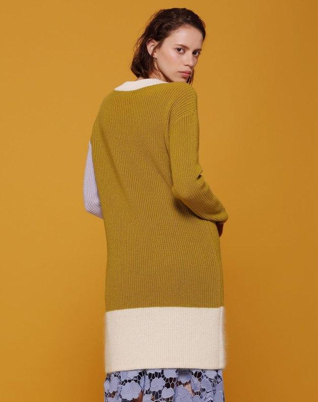 Green Shirt Collar Long Sleeve 3/4 Length Women's Dress