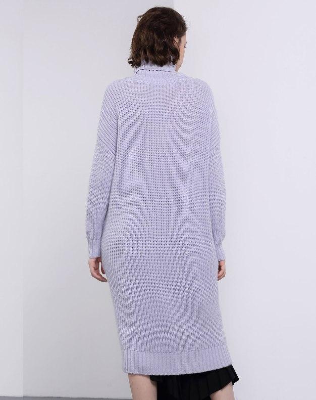 Purple Stand Collar Long Sleeve 3/4 Length Women's Dress