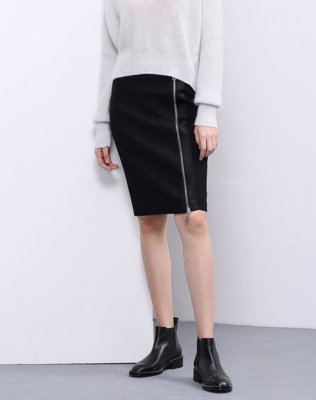 Black 3/4 Length Women's Bodycon Skirt