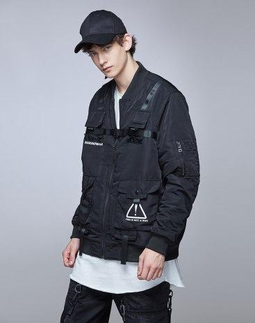 Black Stand Collar Long Sleeve Standard Men's Outerwear