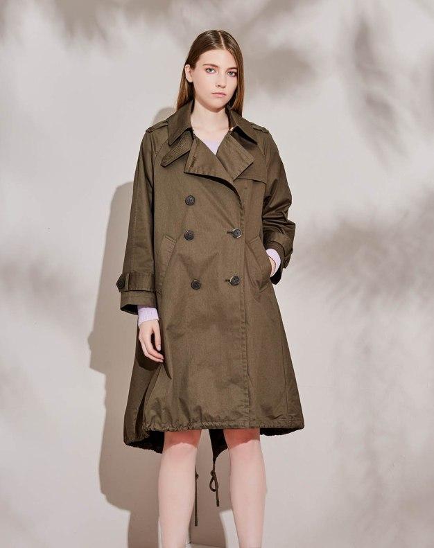 그린 더블 단추 긴소매 슬랙스 여성 코트