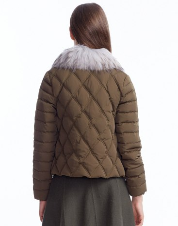 Green Fur Collar Fitted Warm Women's Down Jacket