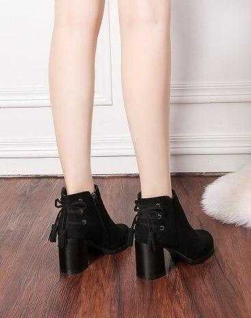 Black Round Head High Heel Ankle Boot Waterproof Women's Boots