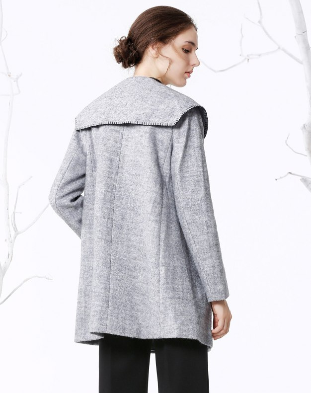 Gray Plain Double Breasted Long Sleeve Fitted Women's Coat