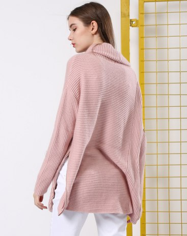 Pink Cowl Neck Long Sleeve Loose Women's Sweater