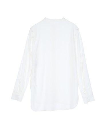 White Plain Stand Collar Long Sleeve Women's Shirt