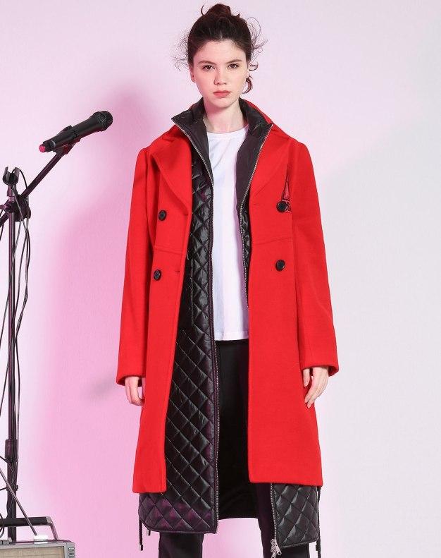 레드 단색의 싱글 버튼 긴소매 표준 여성 코트