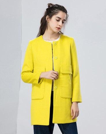 Plain Single Breasted Long Sleeve Standard Women's Coat